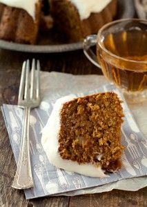 Gingery Carrot Tea Cake with Lemony Cream Cheese Frosting