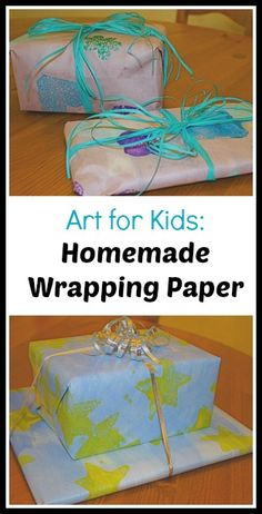 Art for Kids: Make your own wrapping paper with watercolor and sponges!