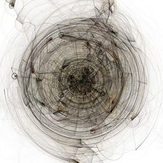 Initially particles orbit at a fairly fast velocity. Over time, they slow so that their positions, orbit paths, and parent connections can be clearly rendered. Orbitals: variation B Generative Kunst, Modern Hepburn, Mark Making, Medium Art, Printmaking, Design Art, Abstract Art, Gallery, Drawings