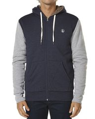 VOLCOM SINGLE STONE SHERPA ZIP HOODY - NAVY COMBO