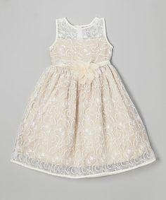 Look at this #zulilyfind! Ivory & Champagne Lace Babydoll Dress - Toddler & Girls #zulilyfinds