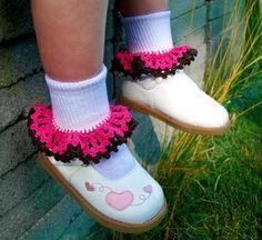 "Girls Crochet Ruffle Socks -2 layers of Dainty Lace Trim ""Nicole"""