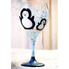 Adorable Penguins Hand Painted Wine Glass