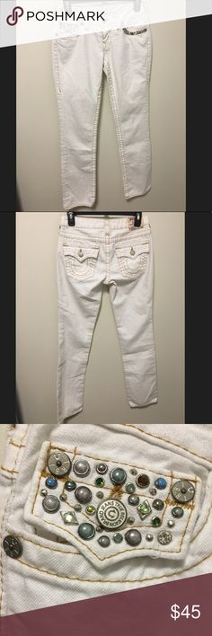 True Religion White Denim with Gem Detail - True Religion brand - White denim - Unique gem detail - Straight leg cut  - Mint condition; minor wear on bottoms as shown in final photo Make me an offer on this unique pair of jeans! :) True Religion Pants Straight Leg