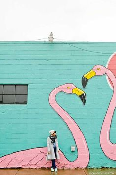 Flamingos at Pie Spot Portland Oregon + Guide to the Best Murals in Portland Oregon // localadventurer.com