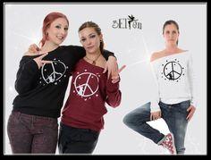 Longsleeves - 3Elfen Pullover schulterfrei Peace Elfe - ein Designerstück von 3Elfen bei DaWanda Elf, Outfit, Graphic Sweatshirt, Pullover, Sweatshirts, Sweaters, Fashion, Outfits, Moda