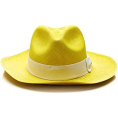 Sensi Studio Classic Panama Hat in Yellow ($130) ❤ liked on Polyvore featuring accessories, hats, straw hat, panama straw hat, panama hat, bow hat and sensi studio hats