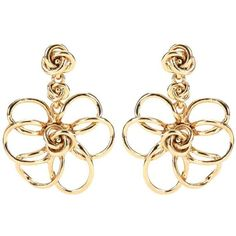 Oscar de la Renta Flower Gold-Plated Earrings (280 CAD) ❤ liked on Polyvore featuring jewelry, earrings, gold, earring jewelry, oscar de la renta jewelry, flower jewellery, gold plated earrings and gold plated jewellery