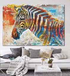 Style Your Home Today With This Amazing 1 Panel Colorful Zebra Oil Painting Unframed Moden Wall Canvas Art For $94.00  Discover more canvas selection here http://www.octotreasures.com  If you want to create a customized canvas by printing your own pictures or photos, please contact us.