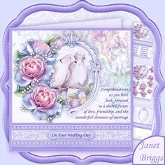 WEDDING DOVES 8x8 Decoupage Mini Kit by Janet Briggs 3 sheet mini kit with 3d step by step decoupage.  Topper is approximately 8 inch or can be reduced in size for smaller cards.  Creates a Wedding card for the bride and groom, or same sex marriage.  Features doves in a frame, embellished with roses and a verse on the card topper.  Kit includes, 1. Topper & sentiment tags 2. Decoupage  3. Insert  Several sentiment tags, including one blank. The others read, On Your Wedding Day. The Bride…