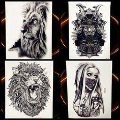 fe5d935fafb7f Africa Serengeti Lion Temporary Tattoo Indian Tribal Mighty Lion Warrior Waterproof  Flash Tattoo Sticker Black Tatoo