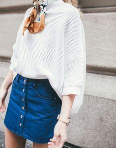 Love this outfit- cream sweater & denim mini