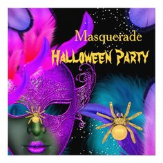 Shop Masquerade Halloween Party Pink Teal Masks Spider Invitation created by Zizzago.