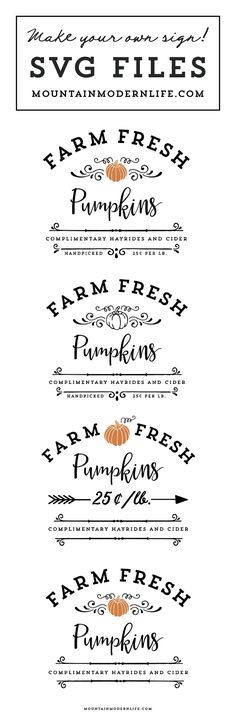 Make your own rustic sign with this Farm Fresh Pumpkins SVG cut file that you can instantly download! MountainModernLife.com