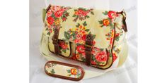 body bag pattern | Beautiful designer style oilcloth handbag with floral pattern on both ...