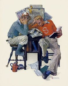 I love the brushwork. Cramming by Norman Rockwell. The original hangs in the library of my alma mater, Point Loma Nazarene University.