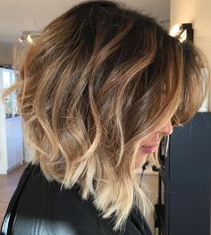 Angled+Messy+Brown+Balayage+Bob must read for thick hair.