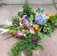 Colorful funeral bouquet