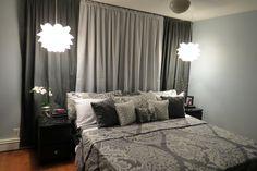After -Master Bedroom Update. Transformation. Gray, Black, Silver, White. DIY Overlays, IKEA, Malm, Romantic. Glamorous. Knappa pendant lamp. Adela Sheets