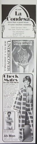 1973 vintage print ad for Ah Men Underwear & La Condesa Guest House