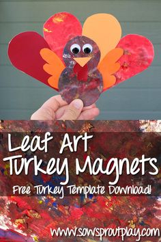 Hand painted feathers make this turkey magnet look awesome!