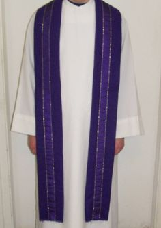 Clergy Stole Handmade Purple Lent Gift Idea by YoursOccasionally, $75.00