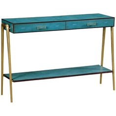 Jonathan Charles Teal Faux Shagreen and Brass Legged Console