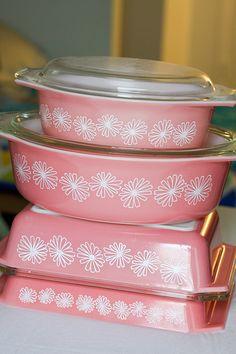 Pink Daisy Pyrex Collection by jenib320,