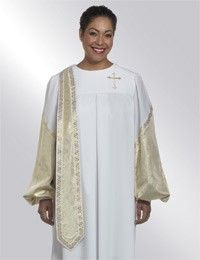 "$219.90 [""Designed for women in the ministry, this Evangelist's robe adds energy to your service. <br \/><br \/><ul>\n <li> Tailored in white Wonder Crepe polyester fabric <\/li>\n <li> Gold metallic ribbon trim detail in symbolic Wheat pattern <\/li>\n <li> Detachable white gold Lam\u00e9 banner and lower sleeves <\/li>\n <li> Embroidered gold metallic Latin Cross <\/li>\n <li> Zips up the back <\/li>\n <li> Velcro closed cuffs <\/li>\n <li> Available in 16 sizes to fit most women…"