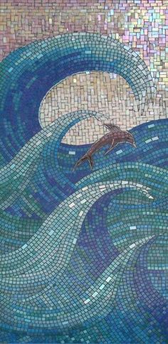 Dolphin in the waves.beautiful beachy glass tile mosaic --- could do this as a quilt using the technique from the mosaic quilt also pinned here. Mosaic Wall, Mosaic Glass, Mosaic Tiles, Stained Glass, Glass Art, Mosaic Tray, Paper Mosaic, Tiling, Wall Tile