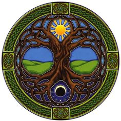 Sun, moon Celtic tree of life.