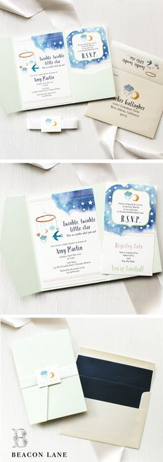 Twinkle Little Star - Baby Shower Invitations are sweet and cuddly, cute and fun. We're sure to have the perfect invite to shower the new mom! #beaconlanebaby #beaconlane