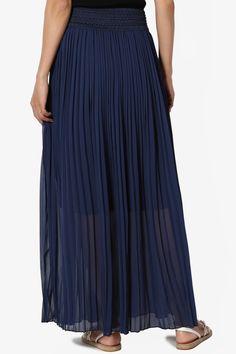TheMogan Women's Lined Flowy Georgette Elastic Waist Pleated Maxi Long Skirt Long Maxi Skirts, Pleated Maxi, Chiffon Skirt, Chiffon Fabric, Ankle Length, Casual Chic, Elastic Waist, Walmart, Dress Up