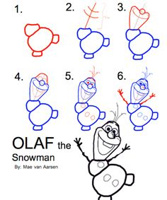 How To Draw Olaf The Snowman, FROZEN, Disney Drawing. I use guides like this in making decorations, as well as printing them for early arrival activities or take home favors. Olaf Drawing, Drawing For Kids, Art For Kids, Drawing Ideas, Drawing Drawing, Frozen Party, Frozen Movie, Frozen Birthday, Frozen Font