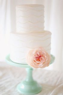 Mint milk classic cake stand. Make the stand teal with a fuchsia flower. perfect.