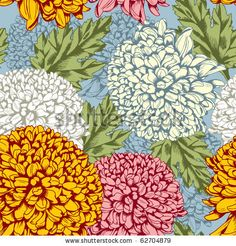 Excellent seamless pattern with chrysanthemum on gray background by Pagina, via Shutterstock