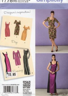 New Sewing Pattern Simplicity 1778   Day Evening Dress Uncut Size 6/14 14/22  6 8 10 12 14 16 18 20 22 Bust 30 32 34 36 38 40 42 44 by LanetzLiving on Etsy