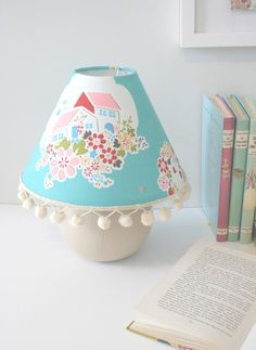 Beautiful Turquoise Lamp with Pom Pom trim