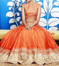 Orange Lehenga with Gota Patti by Anita Dongre. #lehenga #indianclothing