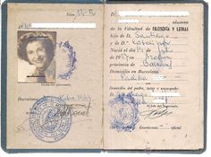Universidad de Barcelona, carta de identidad Escolar. Emitida el 201044. Filosofia y Letras