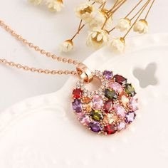 Monalisa colorful CZ Necklace Round Pendant sweater chain luxury crystal sweater…