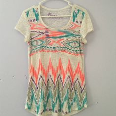 Aztec Burnout Tee Super cute and perfect condition burnout tee from Nollie. This features an Aztec and bright design. Super comfortable PacSun Tops Tees - Short Sleeve