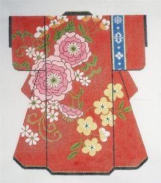 LEE *2013* Oriental LG. Kimono Spring Blossoms handpainted HP Needlepoint Canvas