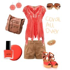 Coral All Over, created by leah-dalbey on Polyvore - shopping in the Cabo local market outfit