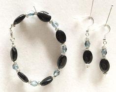 Black Onyx Beads Bracelet Earrings Set Light blue beads