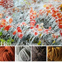 'Dripping Ice' color palette features our TURBINE yarn in Monarch, Birch Bark, Gatehouse and Eastview.