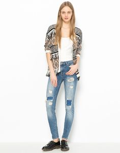5d14d75c16e3 Super Skinny Mid rise jeans with rips Bershka. Discover this and many more  items in Bershka with new products every week