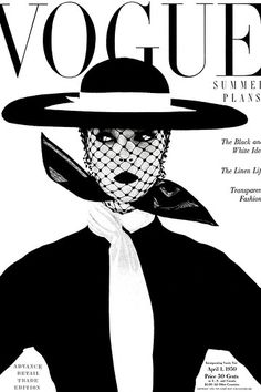 """Vogue UK cover, June 1950 with Jean Patchett by Irving Penn.""""Black and white - more brilliant than colour; symbolic of a black and white season. Wide, round, level hat by Lilly Dache. Scarf by Kimball"""" (Vogue). Vogue Vintage, Vintage Vogue Covers, Fashion Vintage, Retro Fashion, Vogue Uk, Vogue Paris, Fashion Cover, Fashion Art, Fashion Design"""