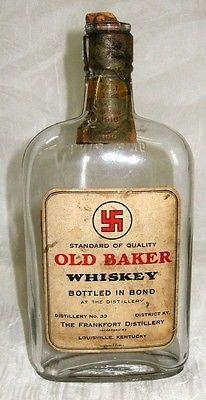 Antique 1916 PRE Pro PROHIBITION Old Baker KENTUCKY Whiskey Bottle Paper Label