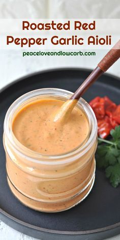 This keto roasted red pepper garlic aioli is the perfect keto condiment. Great as a low carb dip, dressing or sauce. Low Carb Recipes, Real Food Recipes, Cooking Recipes, Healthy Recipes, Healthy Sauces, Recipes With Basil, Cooking Tips, Greek Recipes, Keto Sauces